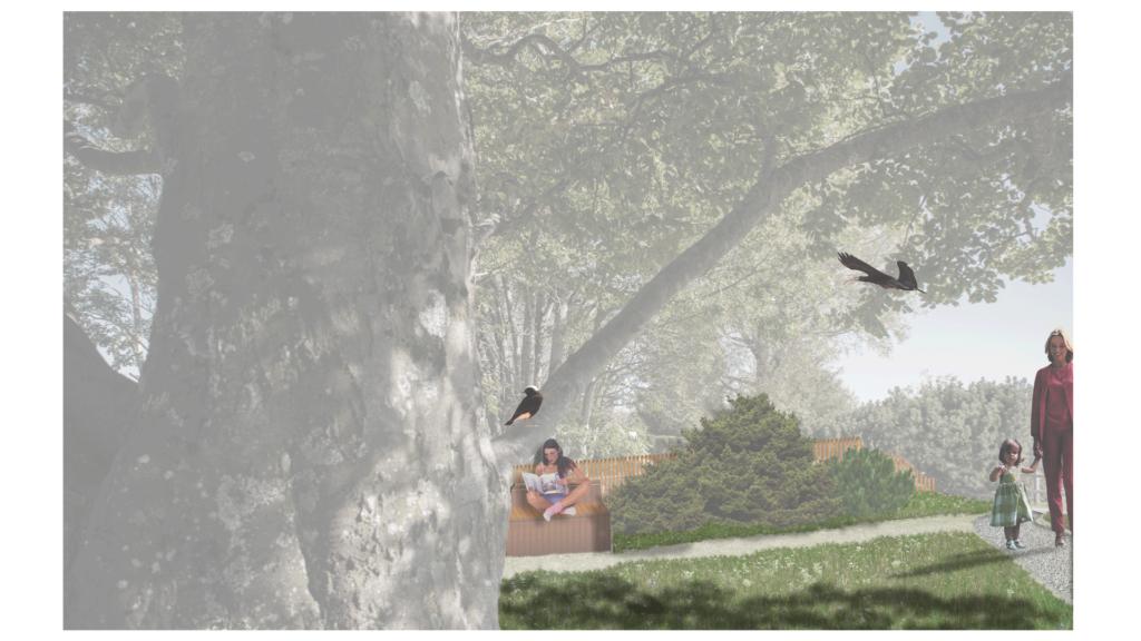Idyllische Leseecke unter Bäumen mitten im Grünen