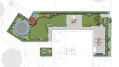 Garten von oben mit organischen Formen