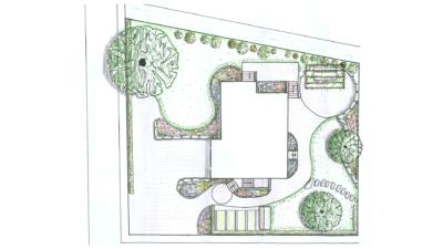 Gartenanlage mit grosszügigen Grünflächen
