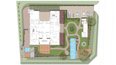 Projektübersicht Gästegarten mit viel Blütenstauden und Pool für die Gäste