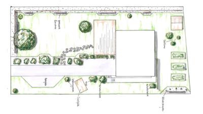 Sehr schlicht gehaltene Gartenanlage mit Kräuterecke und Aufenthalsbereich