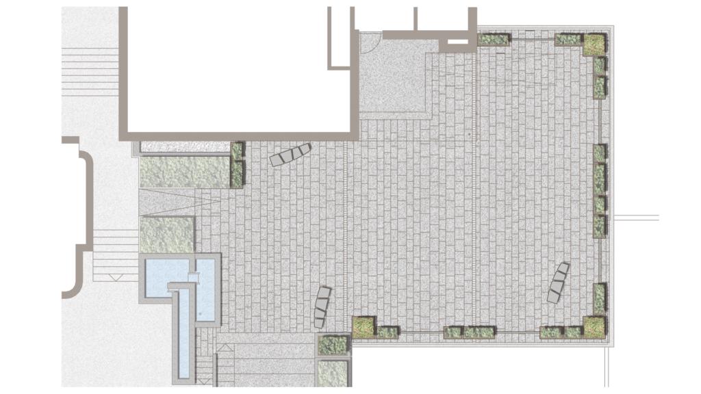 Absturzsicherung mit Geländer und Pflanztrögen auf dem Platz vor Turmstübli