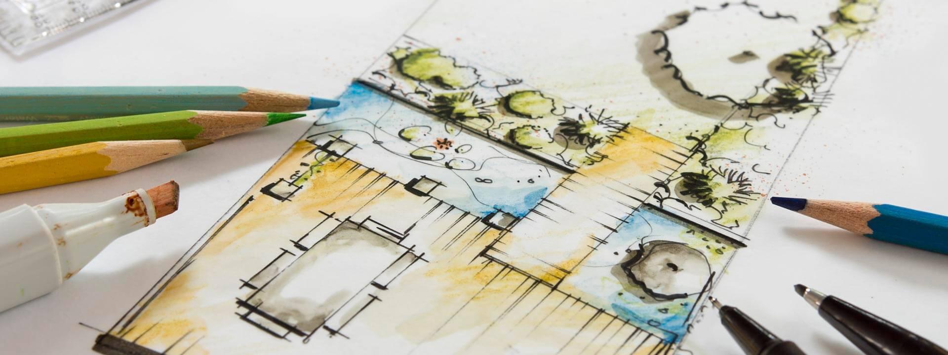 Von Hand erstellte Planskizze