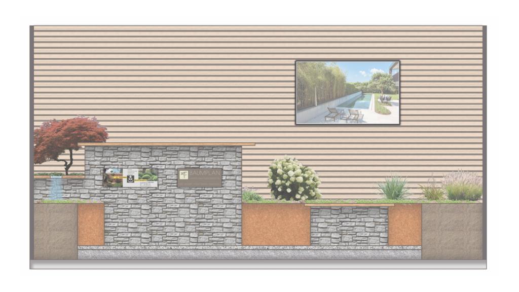 GEWA Stand mit Natursteinmauer und Holzsichtschutzwand