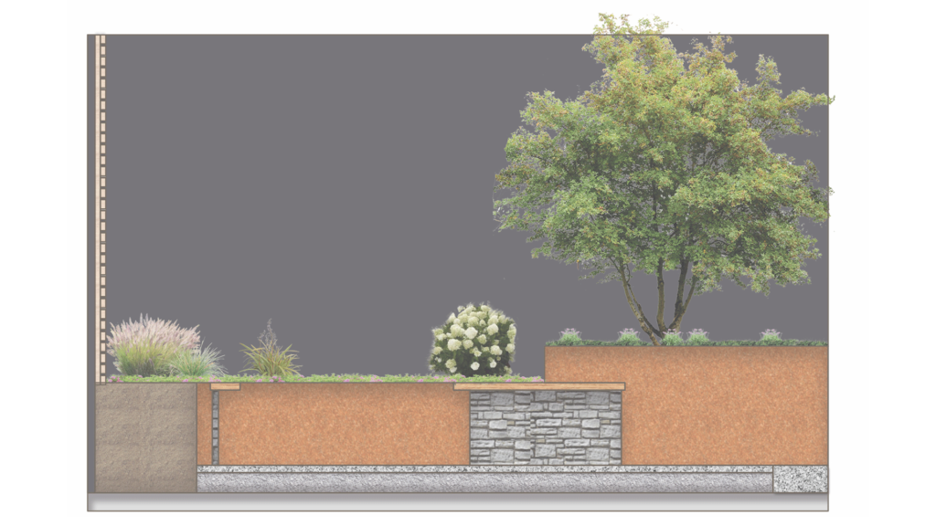 Schnitt durch GEWA Stand mit Baum und Pflanzung im Hintergrund