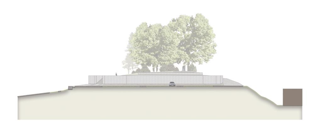 Schnitt durch Parkplatzfläche mit Terrassenmauern im Hintergrund