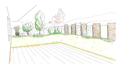 Gartenausschnitt mit organischen Formen