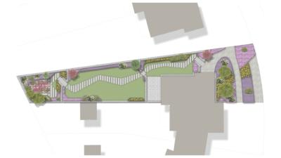Projektübersicht Garten mit üppiger Bepflanzung