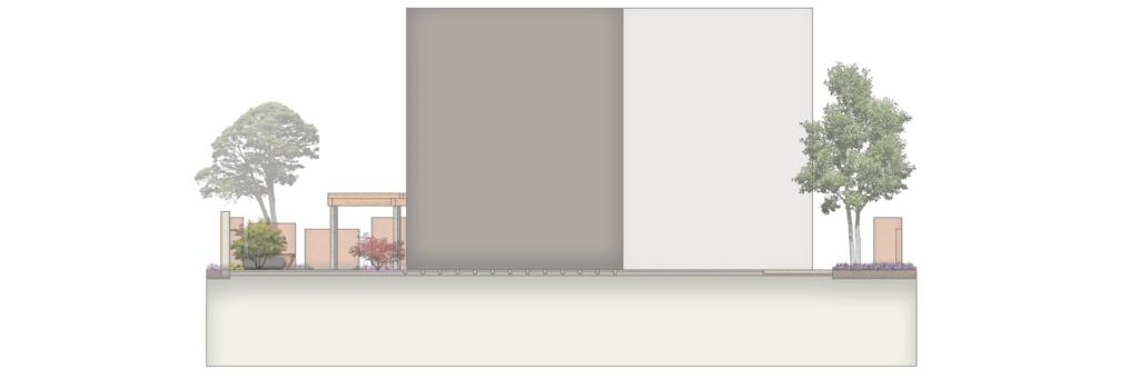 Schnittansicht durch Vorplatz mit Garten im Hintergrund